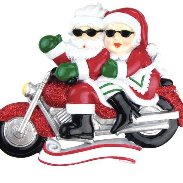 Ceramic Jolly Santa & Mary Christmas on their Motorbike. Personalise for yo