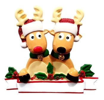 Ceramic Festive Reindeer Couple