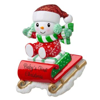 Ceramic Christmas Snow Baby on Sled, Baby's First Christmas. Personalise for your family or a loved ones Baby at no extra cost or leave blank.