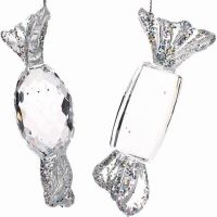 Silver & Clear Oval Sweet - Left hand side of picture.