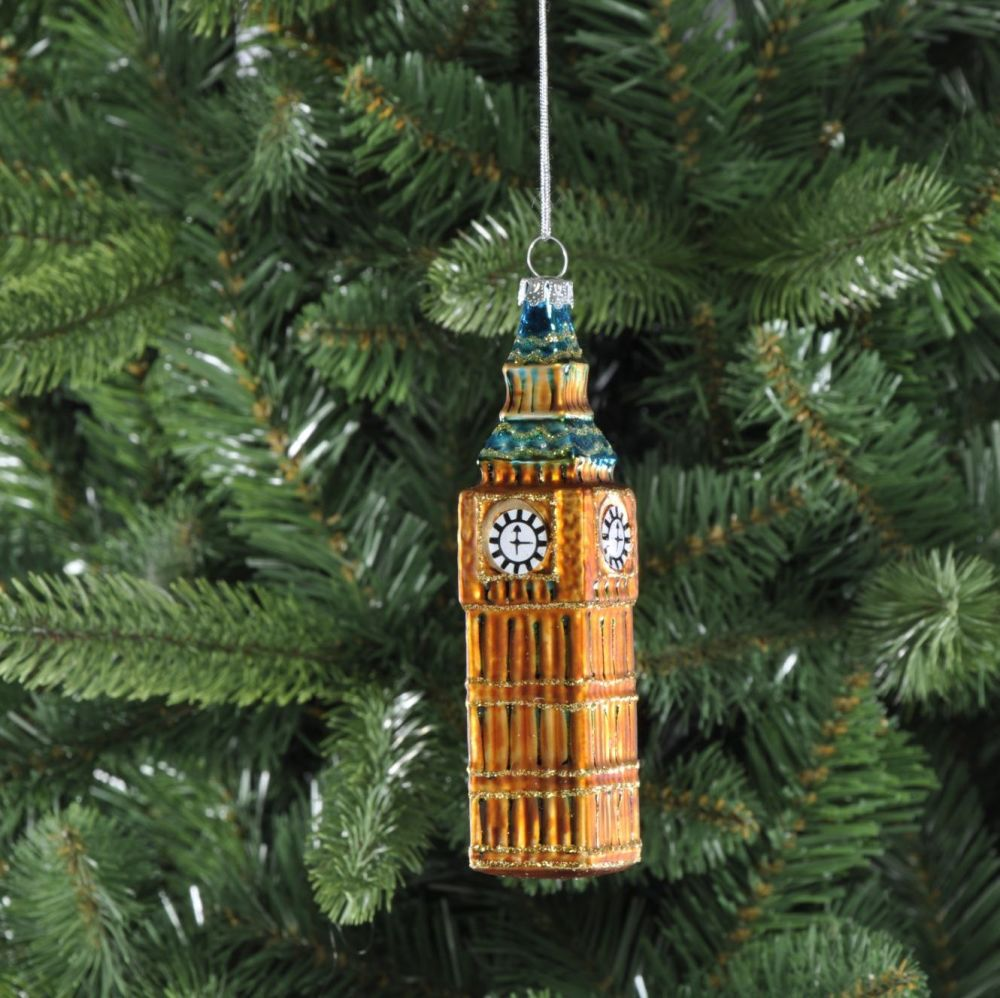 Gold Big Ben in London Glass Christmas Bauble - 13cm