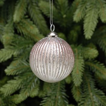 Sumptuous Pink Glittered Ribbed Bauble - 8cm diameter