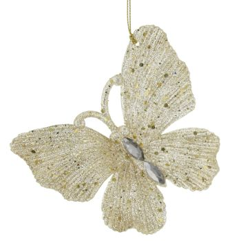 Champagne Gold Glittered Butterfly - 10cm