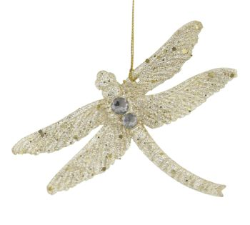 Champagne Gold Glittered Dragonfly - 10cm