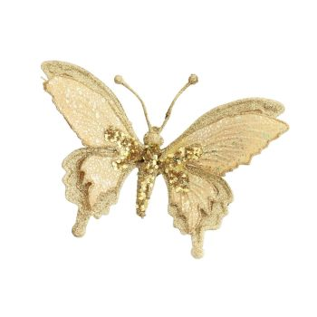 Champagne Gold Glittered clip on Butterfly - 19cm