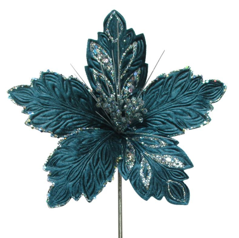 Blue Velvet Poinsettia Stem - 42cm tall