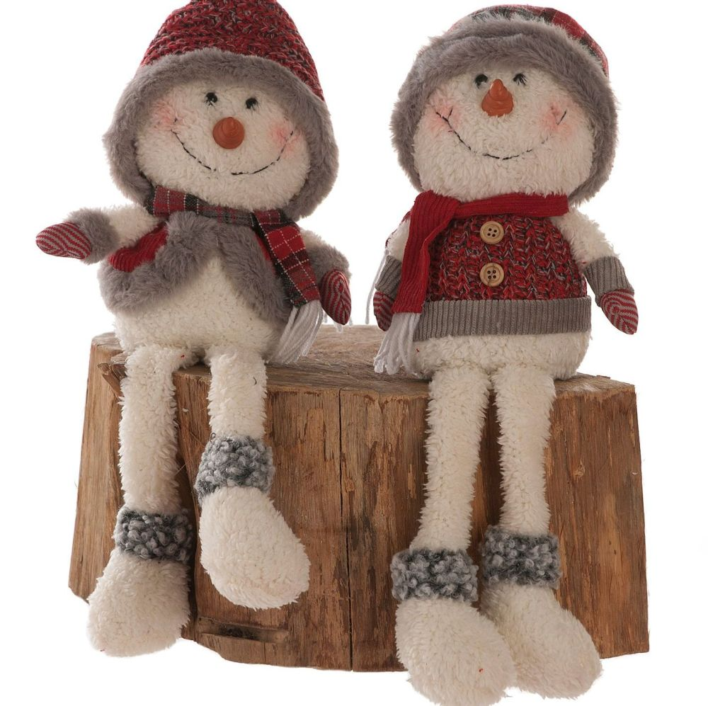 Jolly Snowman Dangly Leg Sitting Christmas Decoration - 53cm tall - Right h