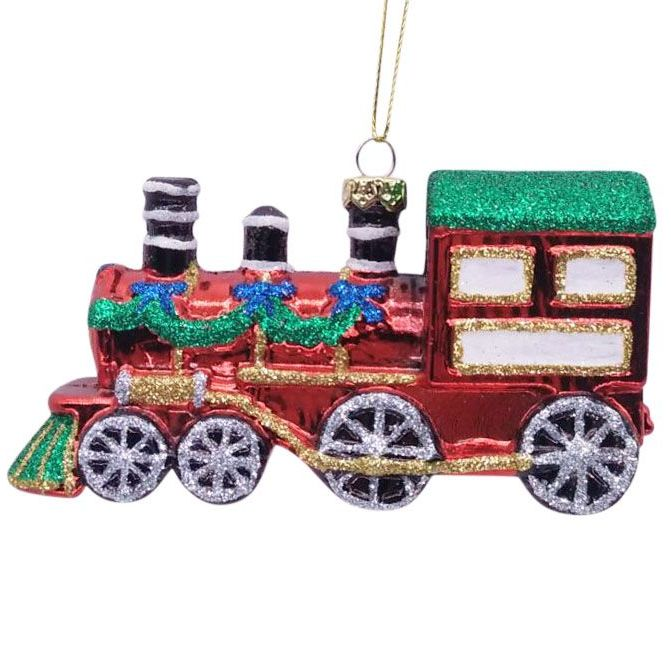 Fun Glittered Red Steam Train - 12cm