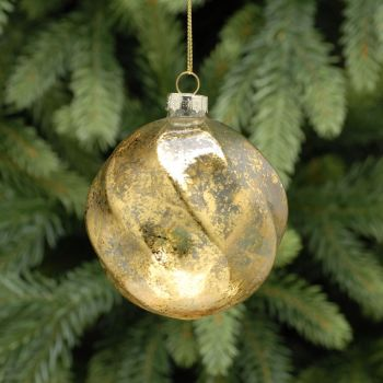 Gold Glass Frosted Ridged Swirl Bauble - 10cm