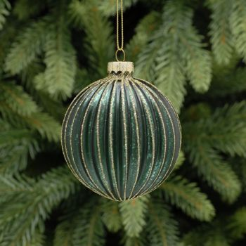 Green Glass Ridged Bauble with Gold Glitter - 8cm