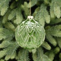 Beautiful Green with layered leaf glass Bauble with Gold Glitter - 10cm