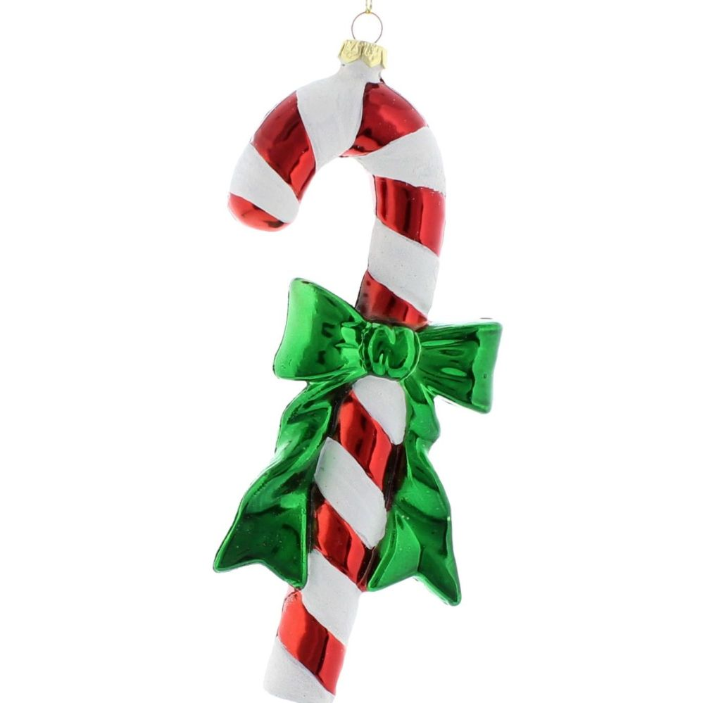 Red & White Candy Cane with Bow - 17cm