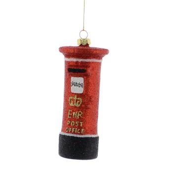 Red Glitter British Postbox - 10cm