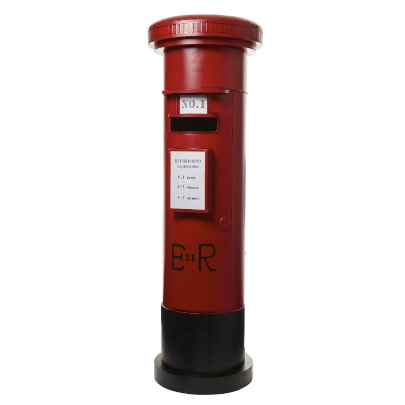 Large British EIIR Red Post Box - 1230mm x 400mm diameter.