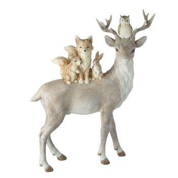 Large Standing Deer With Woodland Friends