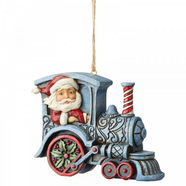 Jim Shore's Heartwood Creek, Santa in Train hanging decoration - 8cm tall x