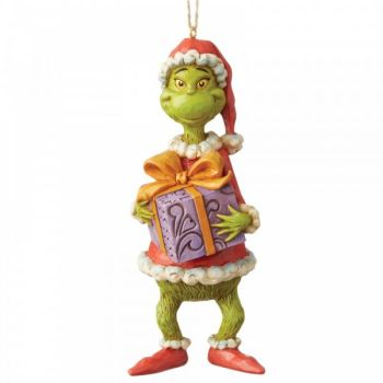 The Grinch Holding a Present Hanging Ornament - 12.5cm tall x 5 wide x 5.5 deep