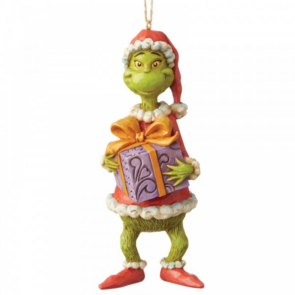 The Grinch Holding a Present Hanging Ornament - 12.5cm tall x 5 wide x 5.5