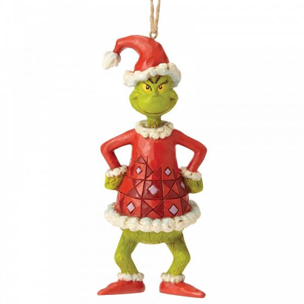 The Grinch Dressed as Santa Hanging Ornament - 13cm tall x 4.5 wide x 5 dee