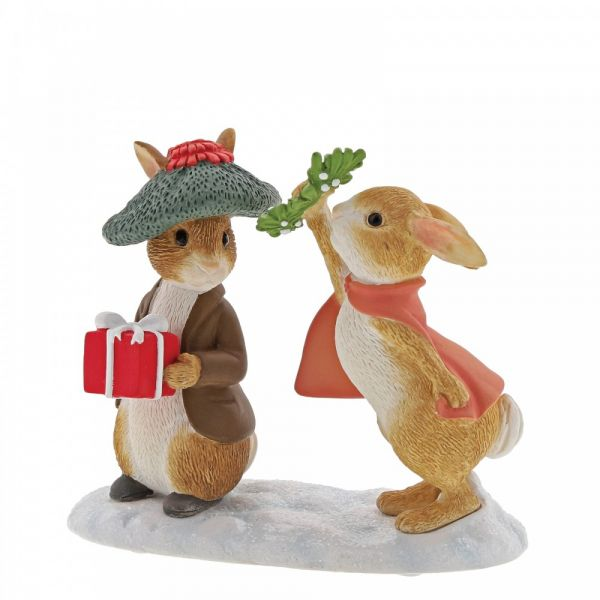 Benjamin Bunny and Flopsy under the Mistletoe - 7cm high x 4 deep x 9 long.
