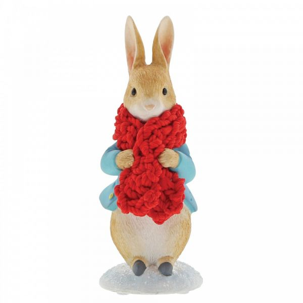 Peter Rabbit in a Festive Scarf - 7cm tall x 4 deep x 4 wide.