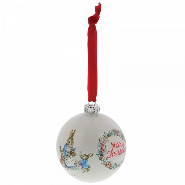 Peter Rabbit Christmas old English White Bauble - 8cm diameter.