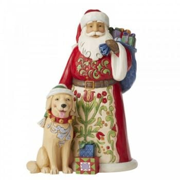 Santa with Labrador Dog Figurine by Jim Shore's Heartwood Creek - 23cm tall x 14.5 wide x 16 deep.