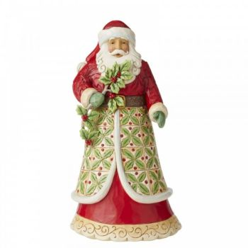 Santa with Holly Figurine by Jim Shore's Heartwood Creek - 30.5cm tall x 15.5 wide x 16 deep.