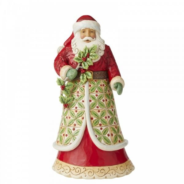 Santa with Holly Figurine by Jim Shore's Heartwood Creek - 30.5cm tall x 15