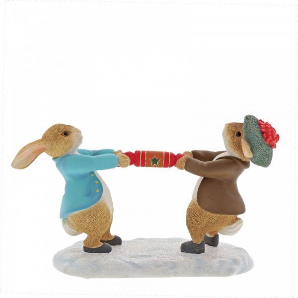 Beatrix Potters Peter Rabbit & Benjamin Bunny pulling a Cracker - 7cm high