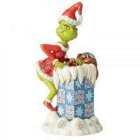 Grinch Climbing into a Chimney - 23cm H x 11 W x 12.5 Deep