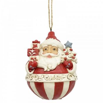 Roly Poly Santa by Jim Shore, Heartwood Creek hanging decoration - 9cm tall x 7cm wide x 7cm deep