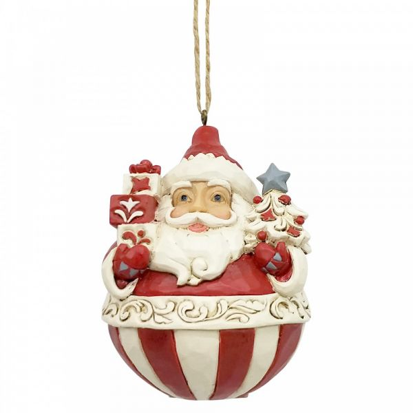 Roly Poly Santa by Jim Shore, Heartwood Creek hanging decoration - 9cm tall