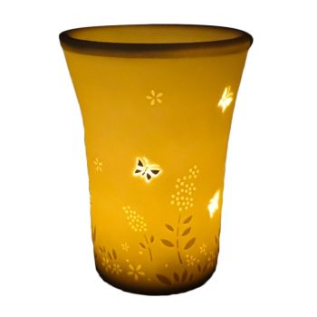 Beautiful Butterflies & Floral Oil Burner by Welink Light Glow - 13cm tall x 10cm dia top x 7cm dia base.