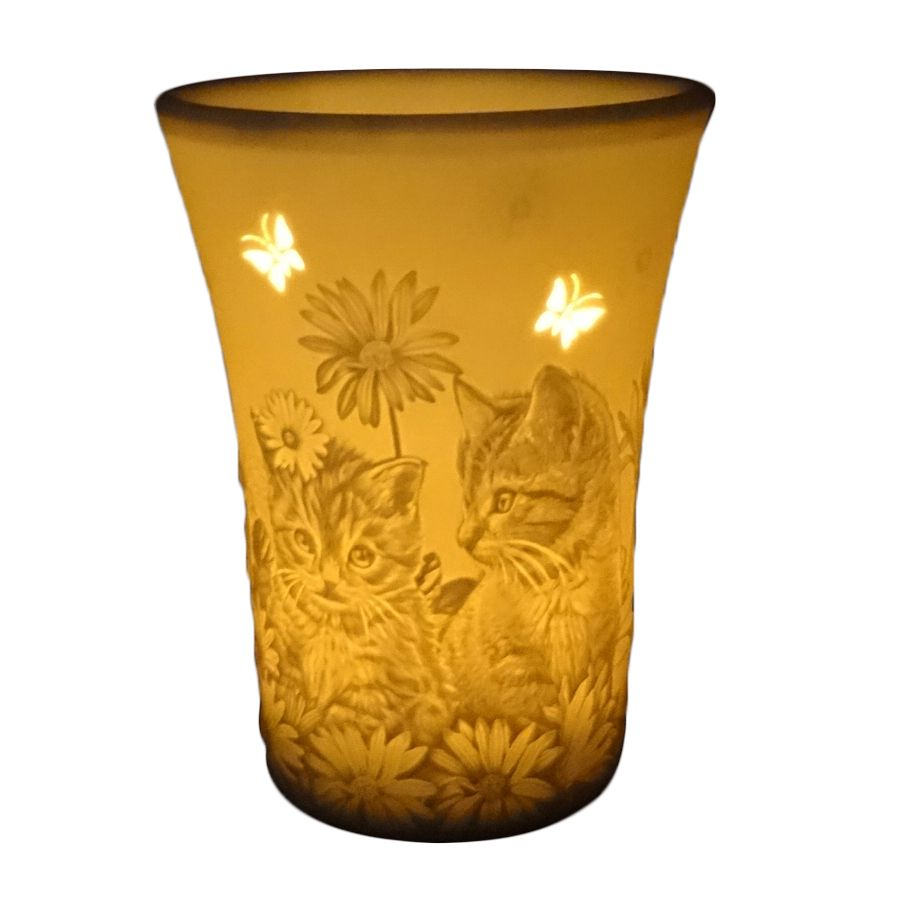 Beautiful Cat, Butterflies & Floral Oil Burner by Welink Light Glow - 13cm