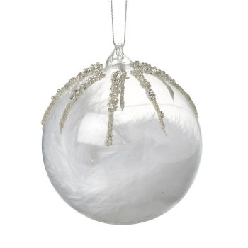 Clear Glass Bauble with Jewel Encrusted detail on the outside & White Feathers inside - 10cm