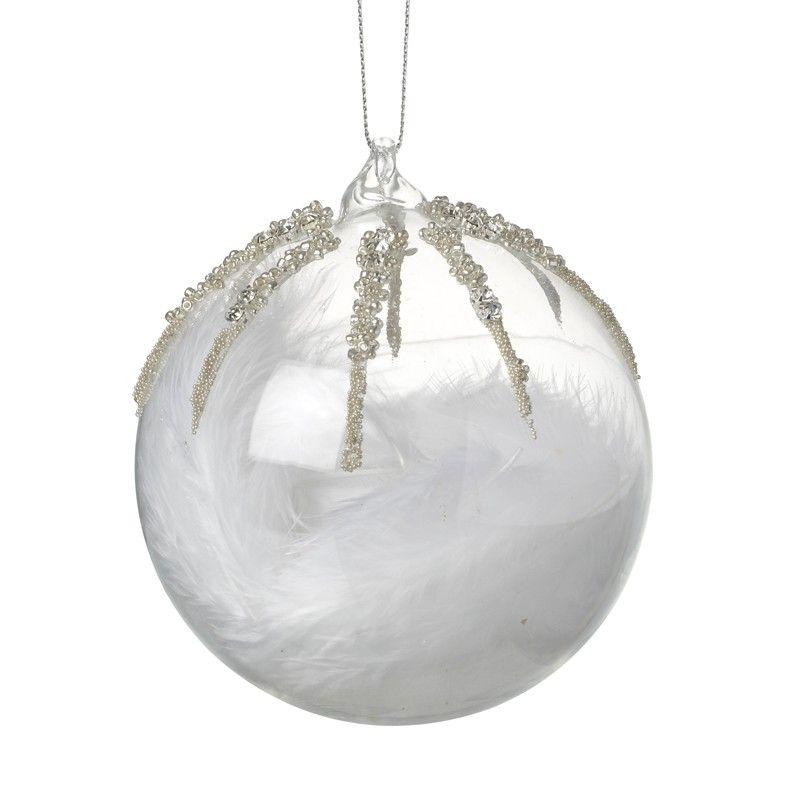 Clear Glass Bauble with Jewel Encrusted detail & White Feathers inside - 10