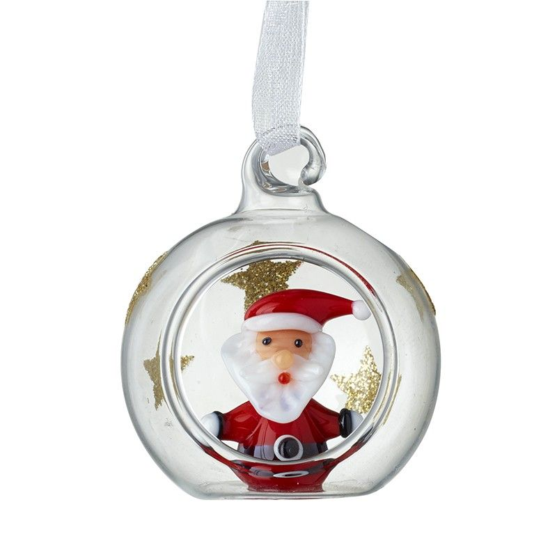 A Beautiful Glass Santa with Gold Glitter Stars inside a Bauble.