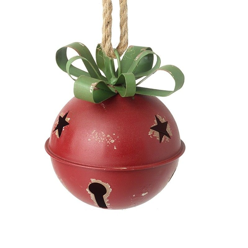 Red Round Metal Bell - 13cm x 13 x 16cm (dimension do not include rope hang