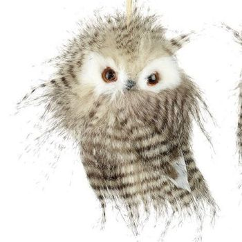 Feathered Fluffy Owl Bauble - 13cm tall x 10cm wide x 9cm deep