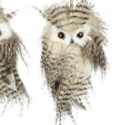 Feathered Fluffy Owl Bauble - 13cm tall x 10cm wide x 9cm deep