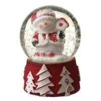 Mini Snowman Snowglobe with White Snow  - 4.5 diameter x 6.2cm tall.