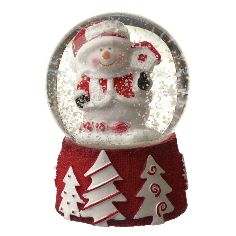 Mini Snowman Snowglobe with White Snow  - 4.5 diameter x 6.2cm tall.