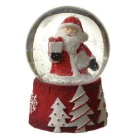 Mini Santa Snowglobe with White Snow  - 4.5 diameter x 6.2cm tall.