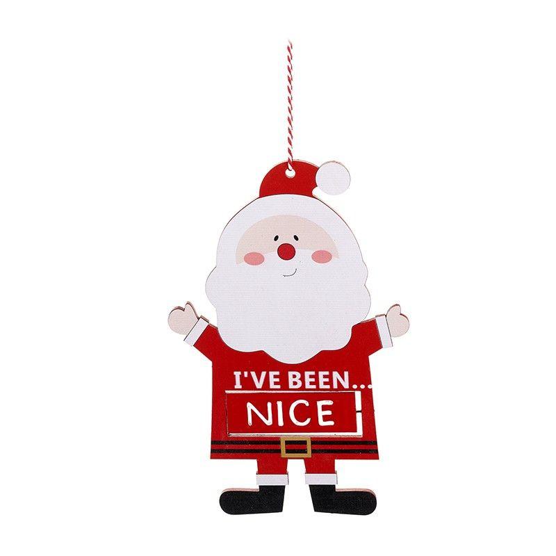 Fun hanging Santa Naughty or Nice wooden sign. 14cm x 20cm