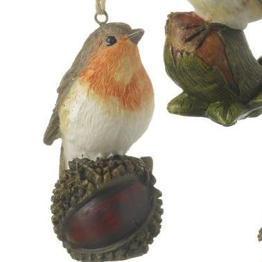 Robin Red Breast Bauble perching on a Horse Chestnut. 9.5cm x 4.5 x 7
