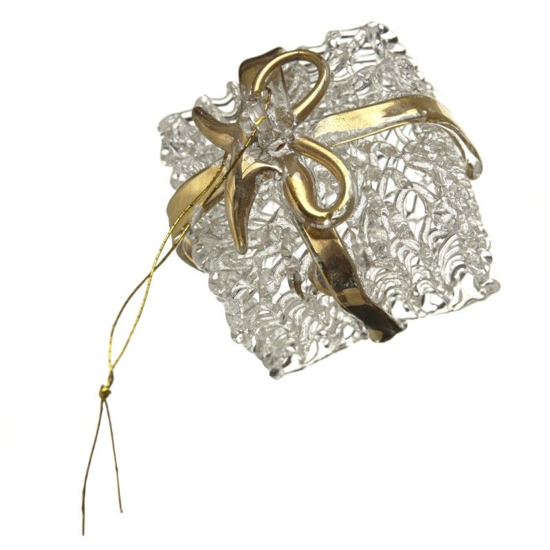 Clear Glass Christmas Present with Gold Bows - 5cm Square.