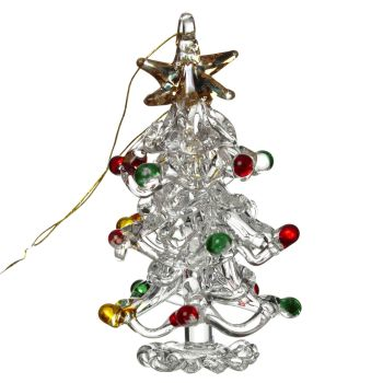 Glass Christmas Tree with Multicoloured Baubles - 5cm tall