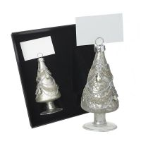 A pair of Glass Christmas Tree Namecard Holders - 9.5cm tall