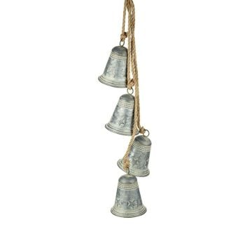 Hanging bunch of four Metal Bells - 12.5cm x 91cm long.